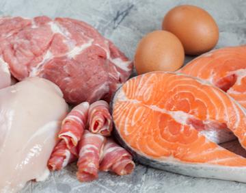 たんぱく質豊富な肉類や魚