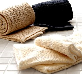 綿や麻のボディタオル