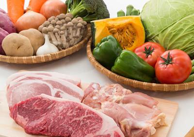 ビタミンやミネラルが含まれる肉や野菜
