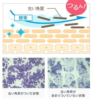 コラージュ洗顔パウダーによる肌への洗浄効果の説明図