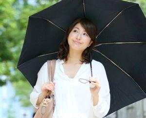 日傘で紫外線対策する女性