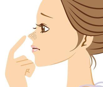 毛穴に悩む女性のイラスト