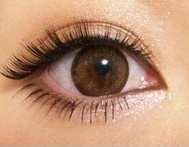 つけまつげで垂れ目風になった女性の目