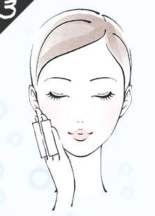 化粧水で保湿する様子