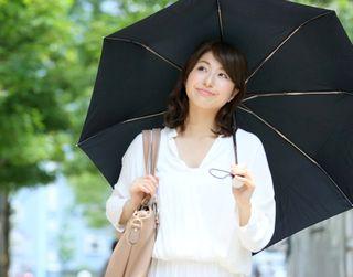日傘を差して紫外線対策する様子