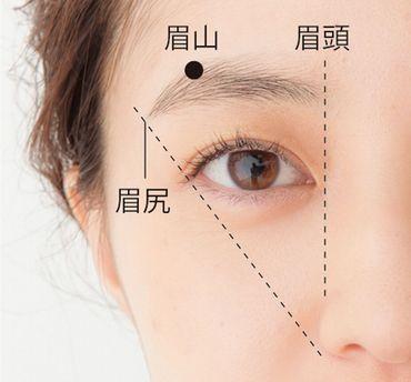 眉頭、眉山、眉尻の基本的な位置