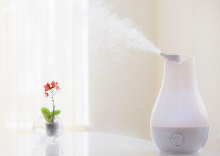 加湿器で部屋の乾燥を防ぐ様子