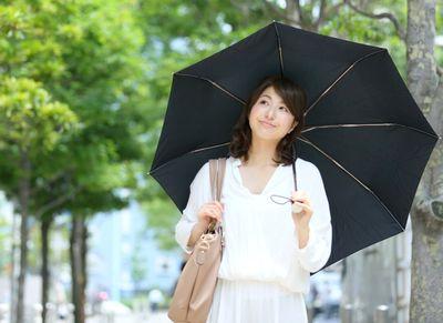 日傘を差して、しっかり紫外線対策する女性