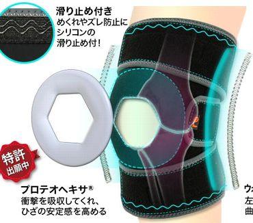 シリコンパッドの膝への衝撃吸収効果の説明